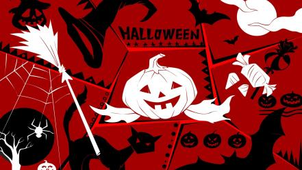 Halloween jack o lantern bats pumpkins red background wallpaper