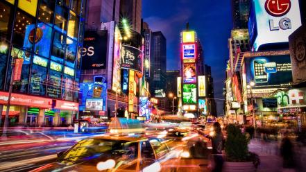 New york city lights colors light long exposure Wallpaper