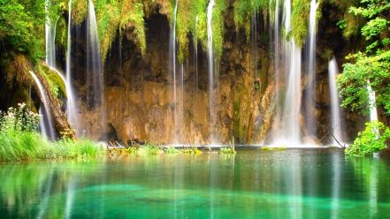 Scenic tropical waterfalls wallpaper