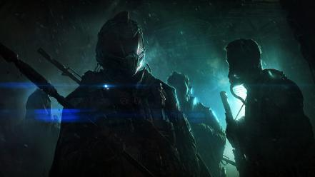 Andree wallin backlights futuristic soldiers wallpaper