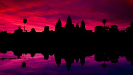 Angkor wat cambodia hinduism architecture lakes Wallpaper