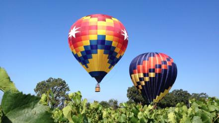 Blue colors hot air balloons iphone skyscapes wallpaper