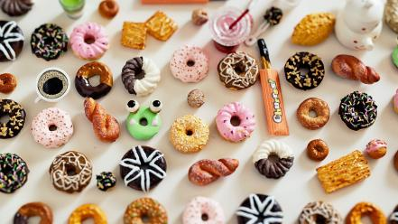 Candies donuts food multicolor objects wallpaper