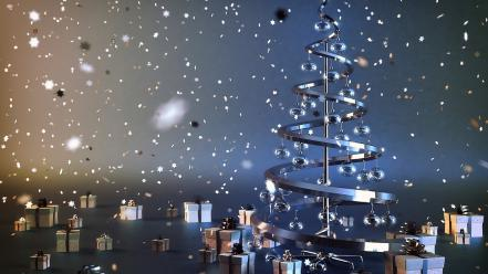 Christmas new year party presents snow wallpaper