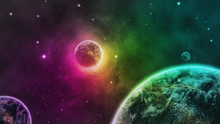 Earth green outer space planets purple wallpaper