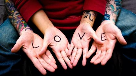 Hands love tattoos Wallpaper