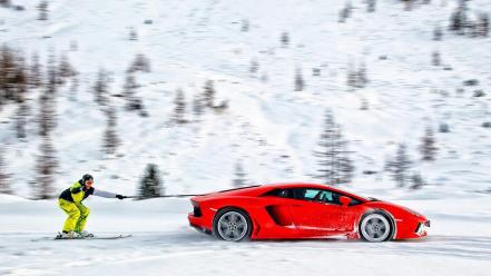Lamborghini skiing snow winter wallpaper