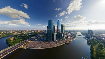 Moscow russia blue skies cityscapes fisheye effect Wallpaper