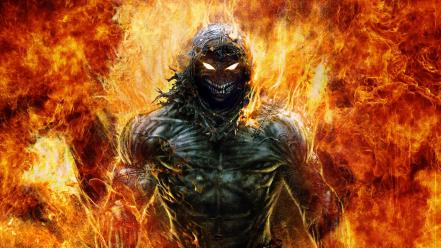 Disturbed indestructible the guy demons flaming wallpaper