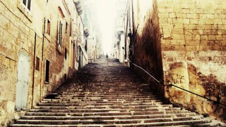 Alley alleyway ancient landscapes stairs wallpaper