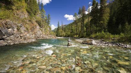 Fly streams fishing british columbia rivers view wallpaper