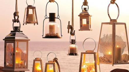 Hanging lanterns lamps shells coral many sea wallpaper