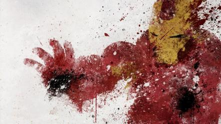 Iron man artwork white background paint splatter wallpaper