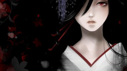 Kimono red eyes pale skin black hair wallpaper