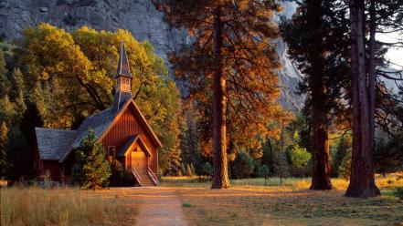 Landscapes california yosemite chapel national park wallpaper