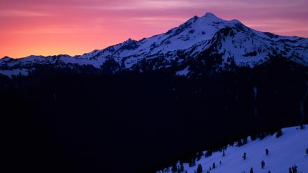 Sunset mountains peak glacier washington wallpaper