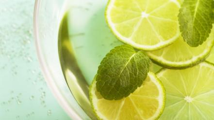 Tea lemons green wallpaper
