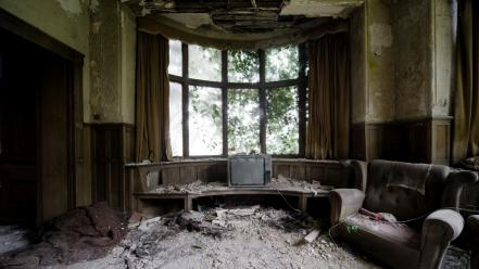 Abandoned house architecture indoors wallpaper