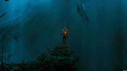 Fantasy art science fiction underwater wallpaper