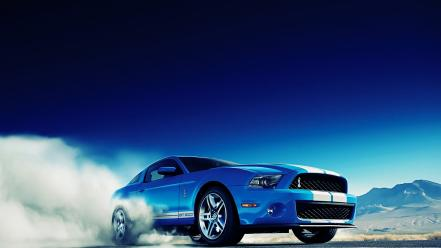 Ford mustang shelby gt500 blue skyscapes smoke wallpaper