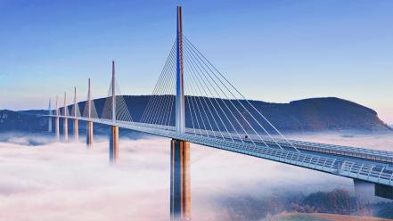 France millau viaduct fog Wallpaper