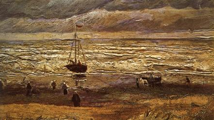 Vincent van gogh artwork beaches paintings weather wallpaper