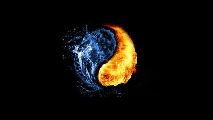 Abstract black background fire photo manipulation water wallpaper