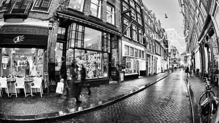 Amsterdam the netherlands architecture black and white buildings wallpaper