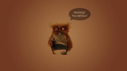 Birds coffee funny orange background owls Wallpaper
