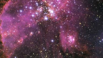 Galaxies outer space purple stars Wallpaper