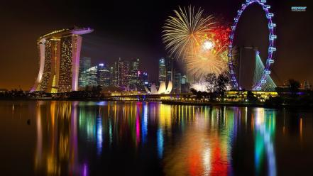 Singapore cityscapes colors fireworks reflections Wallpaper