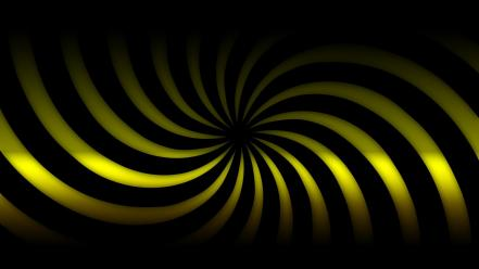 Black spin twirl twist yellow Wallpaper