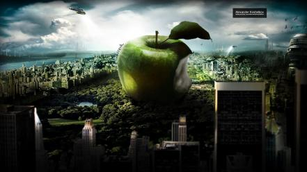 Imac design apples cities alexander koshelkov wallpaper