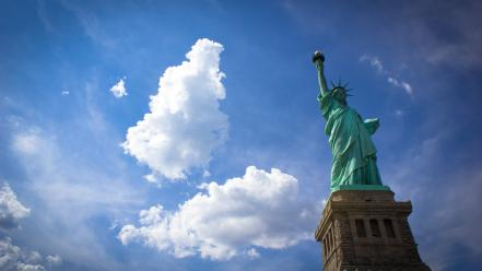 New york city statue of liberty skyscapes wallpaper