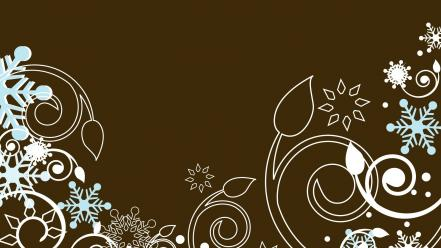 Vector stencil snowflakes swirls brown background wallpaper