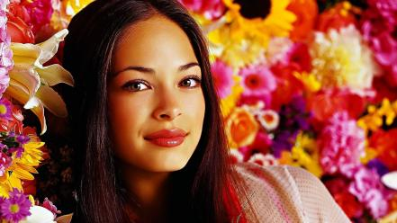 Brunettes women flowers actress kristin kreuk wallpaper