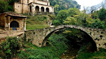Forest grass houses rocks bridges spain ancient wallpaper