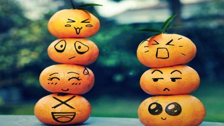 Happy oranges sad angry faces embarrassment bored wallpaper