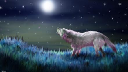 Landscapes night stars animals moon moonlight drawings wolves wallpaper