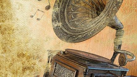 Music notes gramophone wallpaper