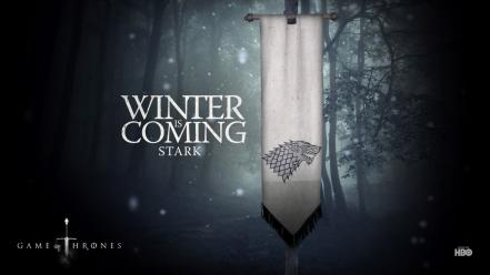 Of thrones is coming banner house stark wallpaper
