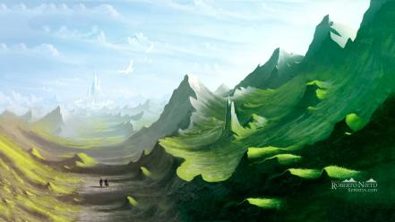 Soldiers mountains clouds landscapes castles fantasy art artwork wallpaper