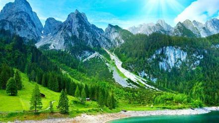 Water mountains forest scenic lakes wallpaper