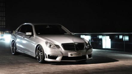 Water streets night lights tuning mercedes-benz wallpaper