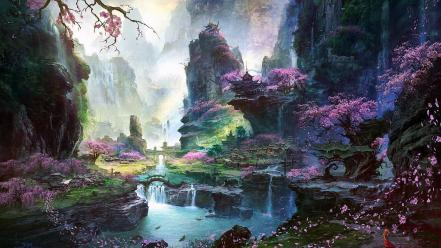 Blossoms leaves fantasy art artwork flower petals wallpaper