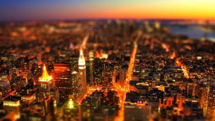 Cityscapes lights night tiltshift Wallpaper
