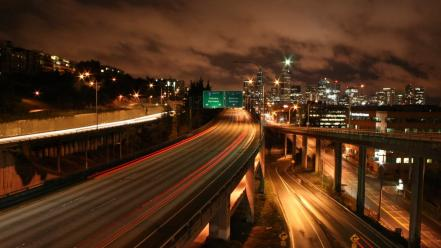 Cityscapes night highway roads portland freeway Wallpaper