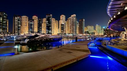 Cityscapes pier boats city lights cities night luxury wallpaper