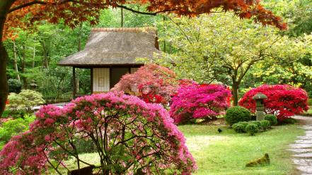 Japan flowers spring (season) japanese gardens asian architecture Wallpaper