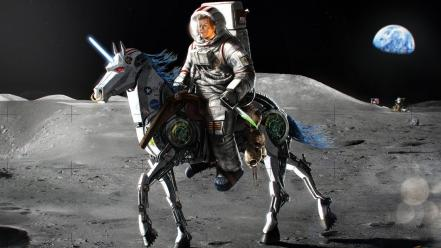 Moon earth unicorns john f. kennedy Wallpaper